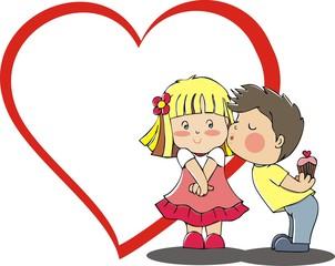 kissing children couple