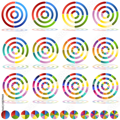 Arrow Wheel Chart Target Icon Set