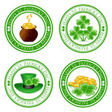 vector illustration of a set of green  stamps with four leaf clo