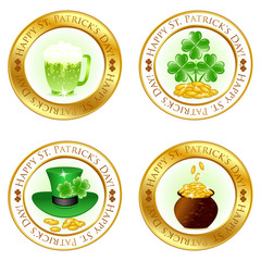 Vector illustration of a set of four glossy icons for patrick da