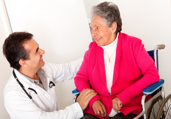 Elder woman in wheelchair