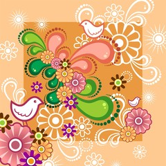 Floral orange background birds