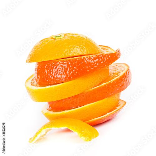 Fotobehang Plakjes fruit Orangenscheiben gestapelt