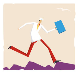 Cartoon doctor running with a suitcase
