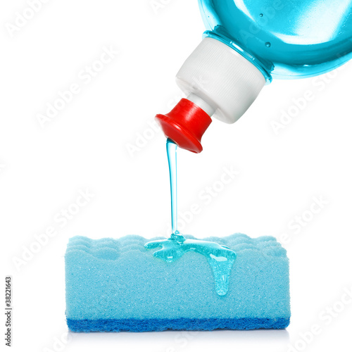 sponge with dish washing liquid