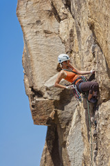 Female climber challenged.