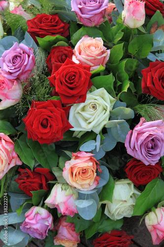 Foto op Canvas Lilac floral rose arrangement in bright colors