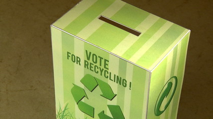 Vote for recycle. Ecology campaign. Green concept.