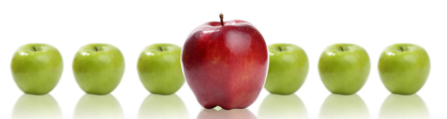 domination concepts - red apple between green apples