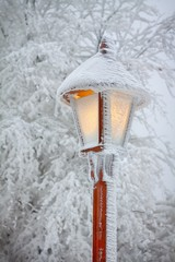 Streetlight in snow ..v
