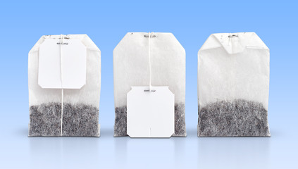 Tea bags with blank tags