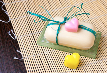 soap with pair of small hearts of soap