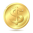 golden coin with dollar sign