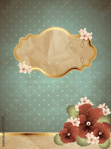 Blue romantic vintage banner with flowers