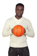 Attractive african man with a basket ball