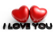 Valentine's Day image, two glossy heart with I love you text