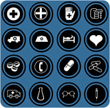 blue  signs. Medical icons set.