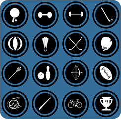 blue  signs. Sport equipment icons. sport icons.