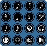 blue  signs. Various musical notes. simple music icons