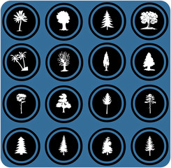 illustration of tree silhouettes. tree icons