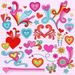 Valentine Heart Love Notebook Doodles Vector