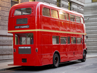 Old fashioned London red bus