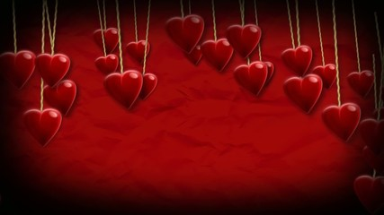 Carte Saint-Valentin fond rouge vidéo animation coeurs