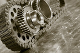 gears and timing chain in duplex toning poster