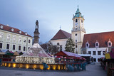 Bratislava - christmas market in morning - town hall