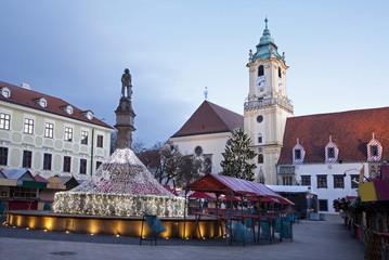Bratislava - christmas market in morning - town hall