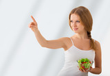 beautiful girl with a salad choose healthy food