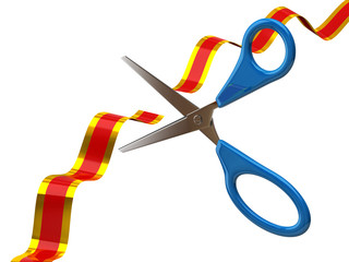 Scissors cutting red ribbon on white background