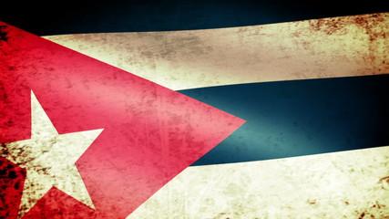 Cuba Flag Waving, grunge look