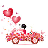 Fototapety Female flower cars with air valentines