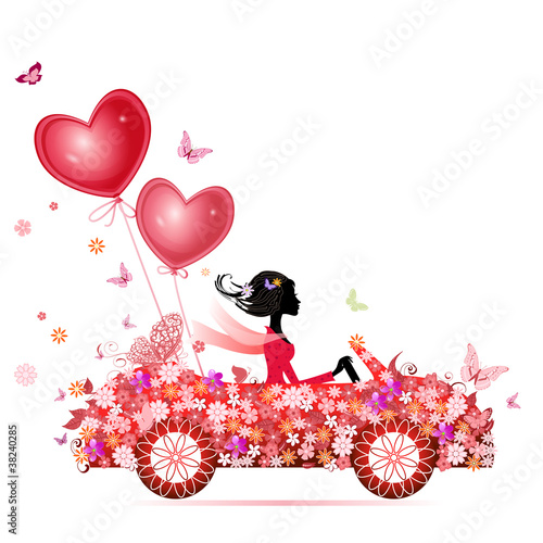 Foto op Canvas Bloemen vrouw Female flower cars with air valentines