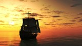Sailing Ship Silhouetted at Sunset