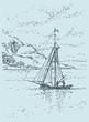 Vector drawing. Sailing boat swims up to shore
