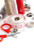 tools for needlework thread scissors and tape measure isolated poster