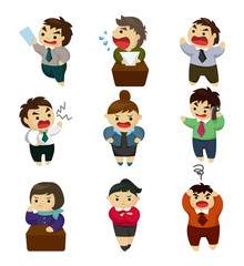 unhappy office worker set
