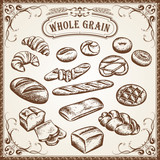 Vector Bakery Set Whole Grain