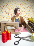 vintage tailor dressmaker, old fashion style poster