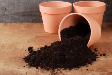 Garden Clay pot with spiiled dirt