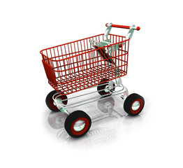 Red love shopping cart valentine gift illustraion