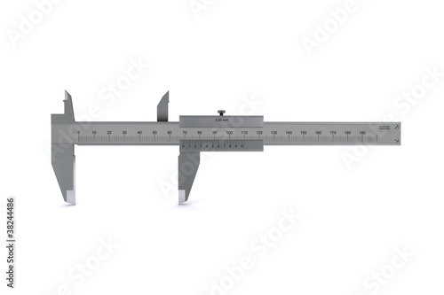 Leinwandbild Motiv metal calipers standing horizontally. 3D rendering