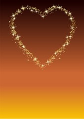 Star heart on a gold background