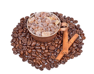 Brown sugar,Coffee beans, coffee cup, cinnamon sticks