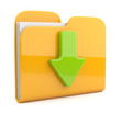 Yellow folder and arrow. 3D icon. Date download. Isolated on whi