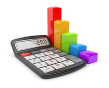 Kalkulator i kolorowy wykres. Icon 3D. Koncepcja biznesowa. Isolat
