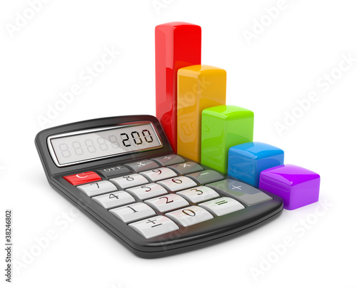 Calculator and colorful chart. Icon 3D. Business concept. Isolat