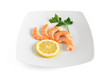 five shrimps with lemon